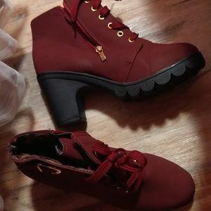 Burgundy heels boots